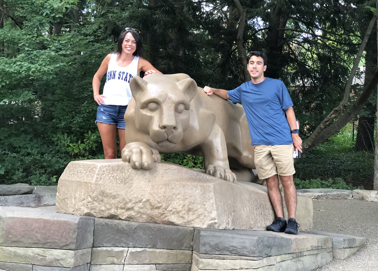 Michael and Kristin at the iconic Penn State lion statue