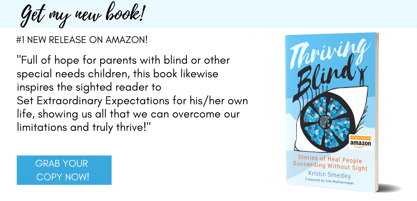 A picture of Kristin's book Thriving BLind with one of the reviews quoted. CLick the image to go to amazon to order the book and see all reviews
