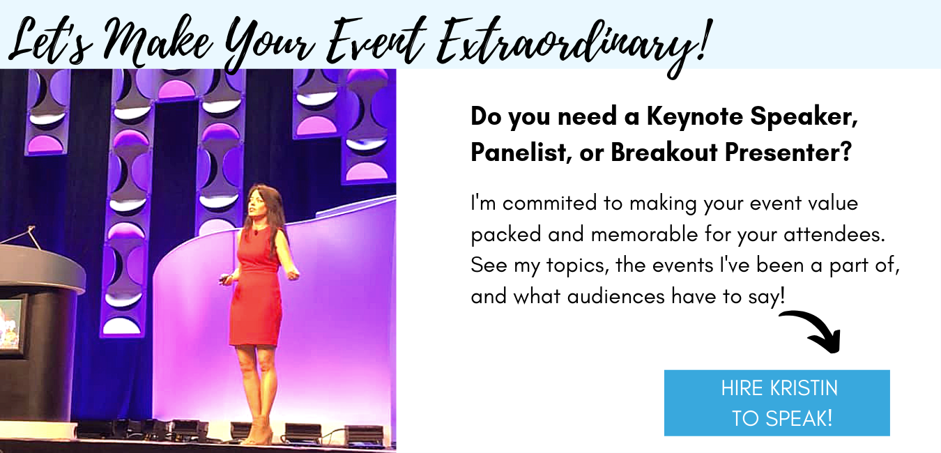 Picture of Krisitn on a big stage.  Click to find out about her speaking topics, events, and audience reviews.