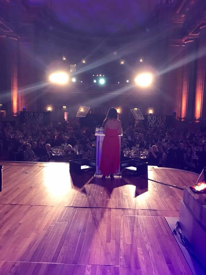 Kristin on stage (taken from behind) at teh NORD gala 2018