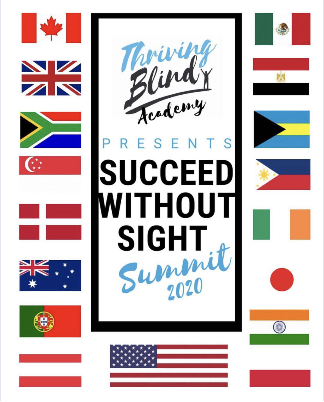 Succeed Without Sight Banner showing 17 countries flags