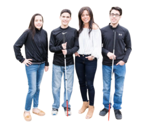 Kristin and her three kids. Boys have white canes