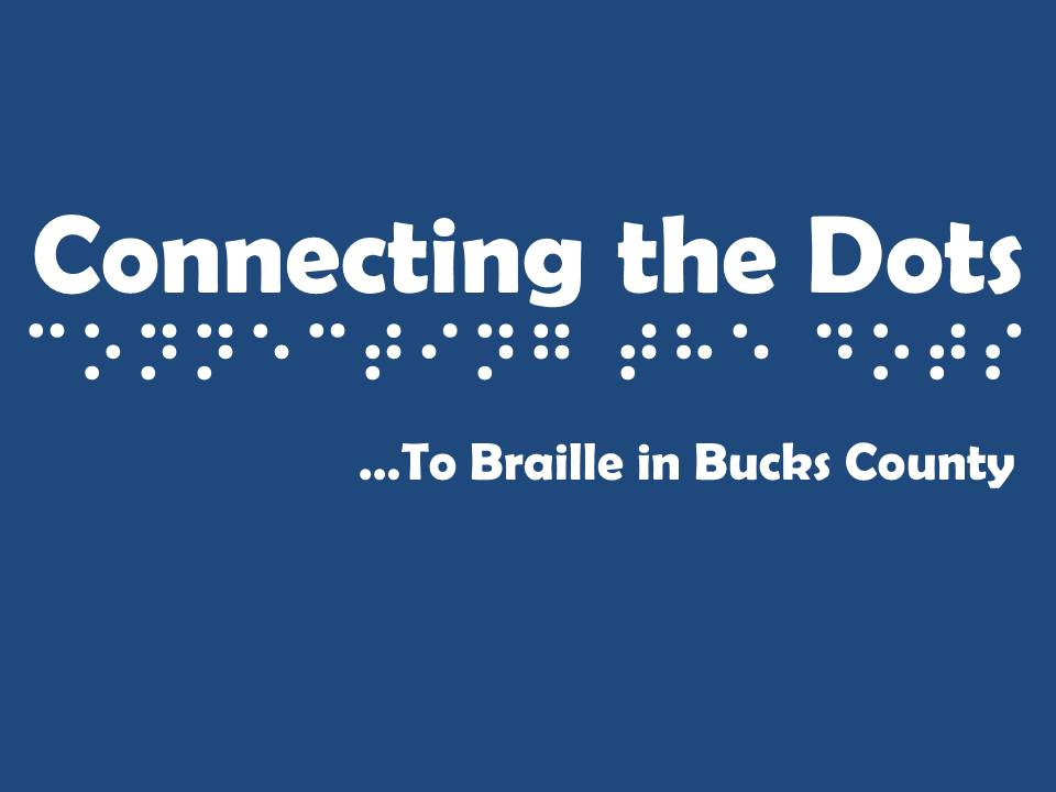 Connecting the dots to braille in bucks county logo